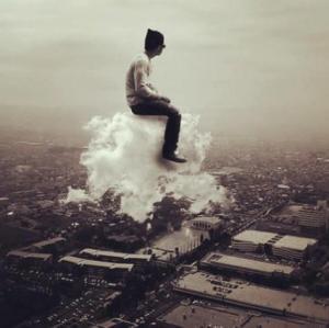 Man rides cloud