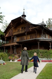Sandra and Olivia with Chalet