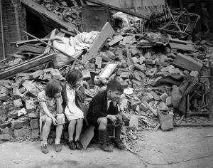 Homeless children in London after the Blitz