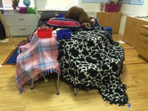 After reading How to Share with a Bear, students at Polaris Charter School made blanket caves.—Polaris Charter School, Manchester, NH